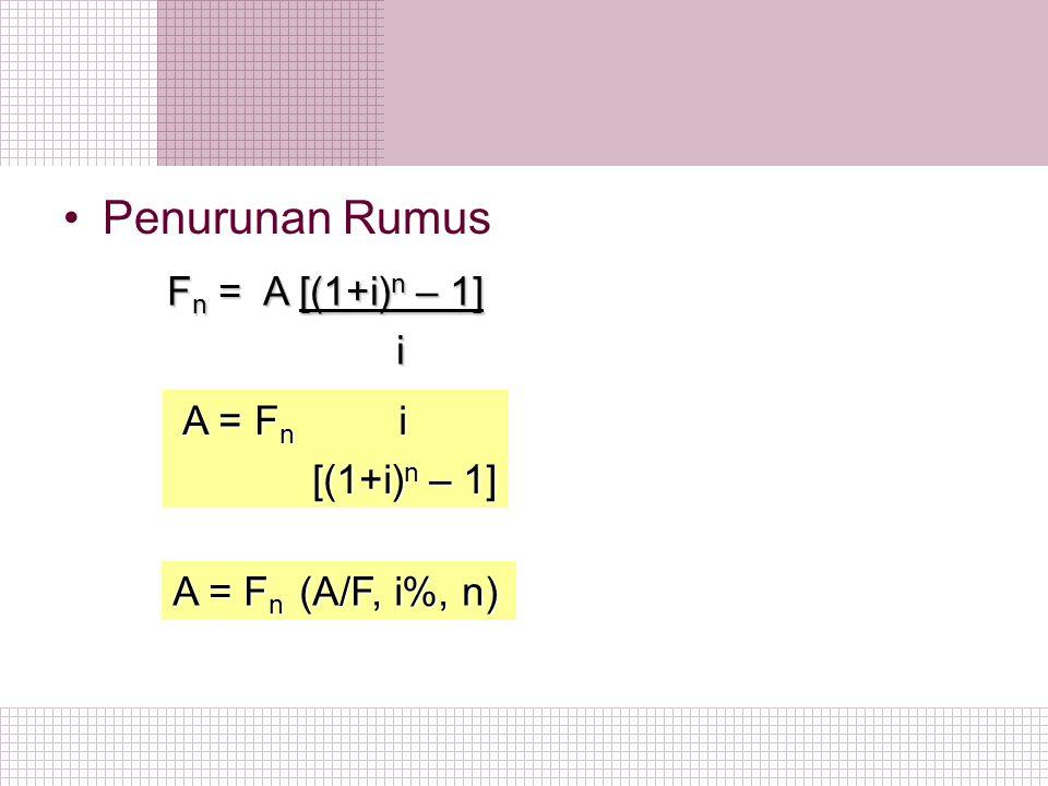 Penurunan Rumus Fn = A [(1+i)n – 1] i A = Fn i [(1+i)n – 1]